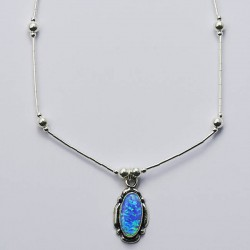 Blue Opal & Silver Necklace