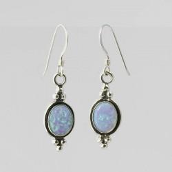 Blue Synthetic Opal & Silver Earrings