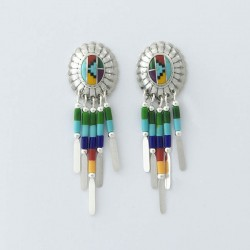 Multi Colour & Silver Earrings