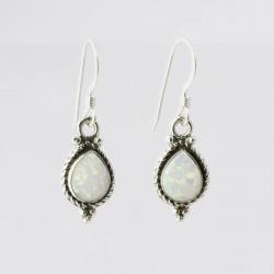 White Synthetic Opal & Silver Earrings