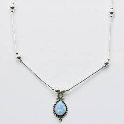 Blue Synthetic Opal & Silver Necklace