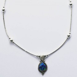 Green Synthetic Opal & Silver Necklace