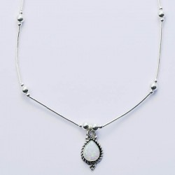 White Synthetic Opal & Silver Necklace