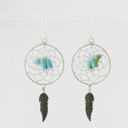 Dreamcatcher & Bear Silver Earrings