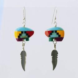 Multi Colour Mosaic Bear & Silver Earrings