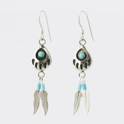 Bear Paw and Feather Silver Earrings