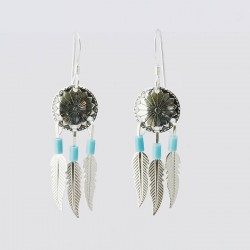 Sheild and Feathers Turquoise & Silver Earrings