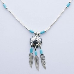 Sheild and Feathers Turquoise & Silver Necklace