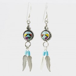 Multi Colour Mosaic & Feather Silver Earrings
