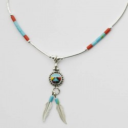 Multi Colour Mosaic & Feather Silver Necklace