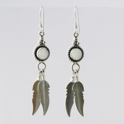 White Synthetic Opal & Feathers Silver Earrings