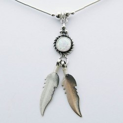 White Synthetic Opal & Feathers Silver Necklace