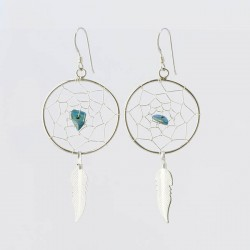 Dreamcatcher and Turquoise Nugget Earrings