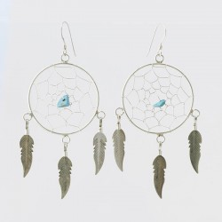 Large Dreamcatcher and Turquoise Nugget Earrings