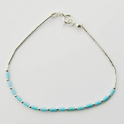 Turquoise Bead & Silver Bracelet