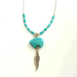 Turquoise & Silver Bear & Feather Necklace