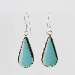 Turquoise Teardrop & Silver Earrings
