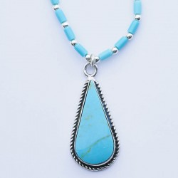 Turquoise Teardrop & Silver Necklace