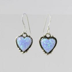 Blue Synthetic Opal & Silver Heart Earrings