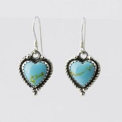 Turquoise & Silver Heart Earrings
