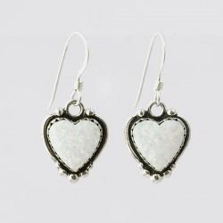 White Synthetic Opal & Silver Heart Earrings