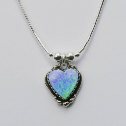 Blue Synthetic Opal & Silver Heart Necklace