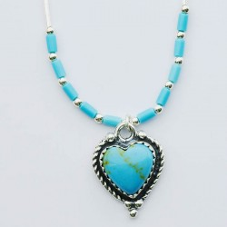 Turquoise & Silver Heart Necklace