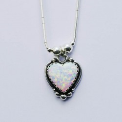 White Synthetic Opal & Silver Heart Necklace