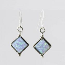 Blue Synthetic Opal & Silver Diamond Shape Earrings