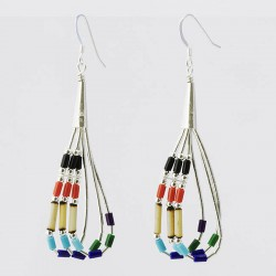 Multi Colour Beads and Bamboo 3 Strand Silver Earrings