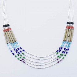 Multi Colour Beads and Bamboo 5 Strand Silver Necklace