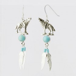 Turquoise & Silver Wolf Earrings