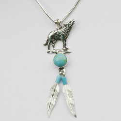 Turquoise & Silver Wolf Necklace