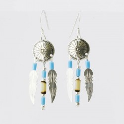 Turquoise & Bamboo Shield & Feather Silver Earrings