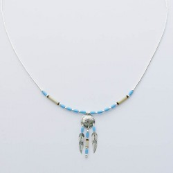Turquoise & Bamboo Shield & Feather Silver Necklace