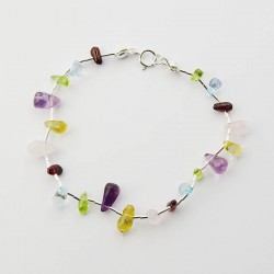 Mixed Stone Chips and Silver Bracelet