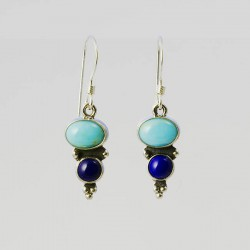 Turquoise & Lapis Silver Earrings