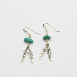 Turquoise Nugget and Feather Silver Earrings