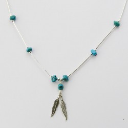 Turquoise Nugget and Feather Long Silver Necklace