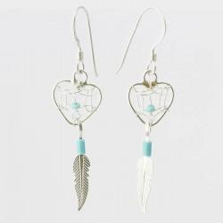Turquoise & Silver Heart Dreamcatcher Earrings