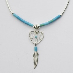 Turquoise & Silver Heart Dreamcatcher Necklace