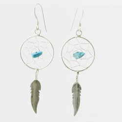 Turquoise Nugget and Silver Dreamcatcher Earrings