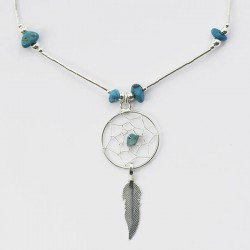 Turquoise Nugget and Silver Dreamcatcher Necklace