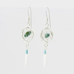 Turquoise Nugget and Silver 3D Dreamcatcher Earrings