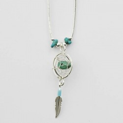 Turquoise Nugget and Silver 3D Dreamcatcher Necklace