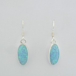 Blue Synthetic Opal and Silver Oval Earrings