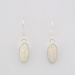 White Synthetic Opal and Silver Oval Earrings