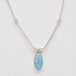 Blue Synthetic Opal and Silver Oval Necklace