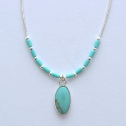 Turquoise and Silver Oval Necklace