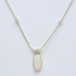 White Synthetic Opal and Silver Oval Necklace